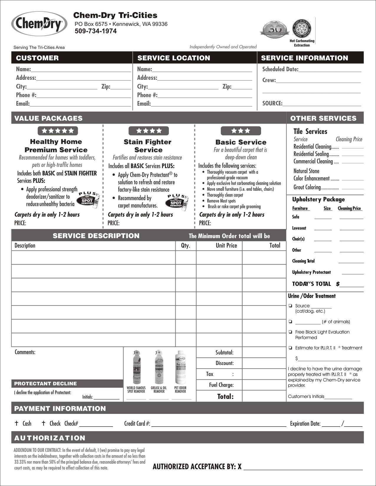 Chem Dry Invoices